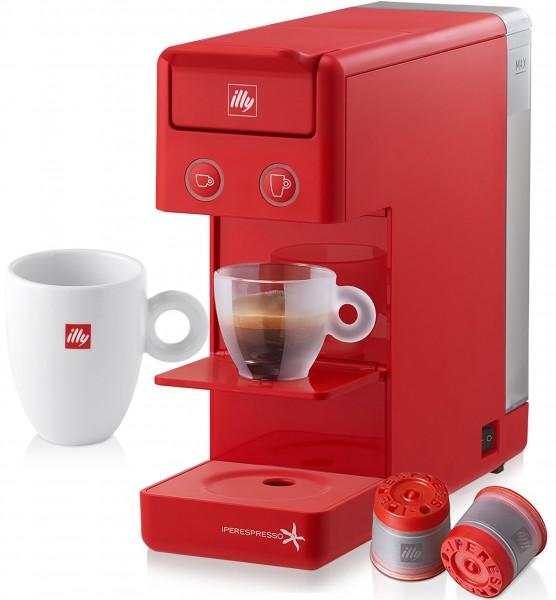 Illy Y3.2 Kaffee & Espresso Iperespresso Kaffeeautomat 850 W + 14 Espresso Kapseln - Rot