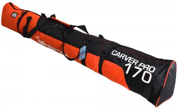 BRUBAKER Carver Pro Skisack für 1 Paar Ski und Stöcke - Schwarz Orange