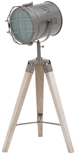Stehlampe aus Metall - Stativbeine aus Holz - Industrial Design - 65 cm hoch - Grau