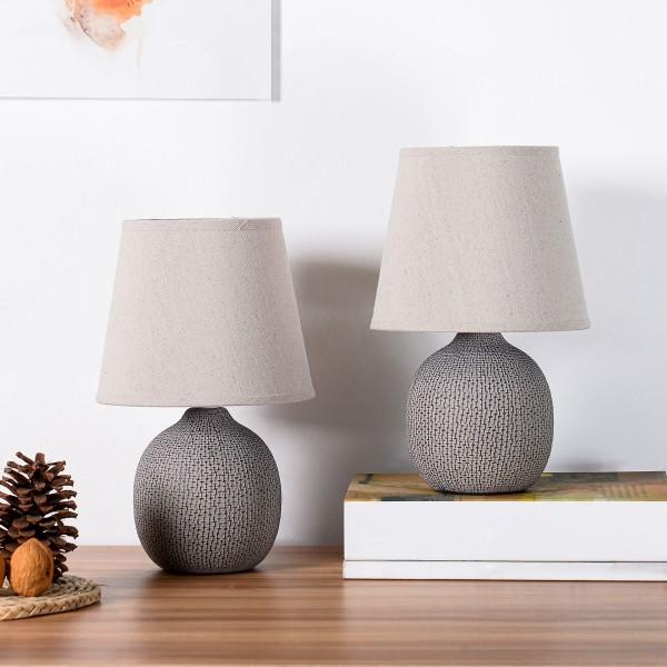 BRUBAKER Tisch- oder Nachttischlampen - 28,5 cm - Braun / Beige- Keramik Lampenfüße mit Struktur