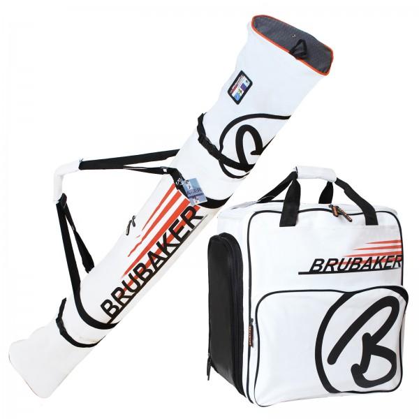 BRUBAKER Kombi Set CHAMPION Skisack und Skischuhtasche für 1 Paar Ski bis 170 cm + Stöcke + Schuhe +