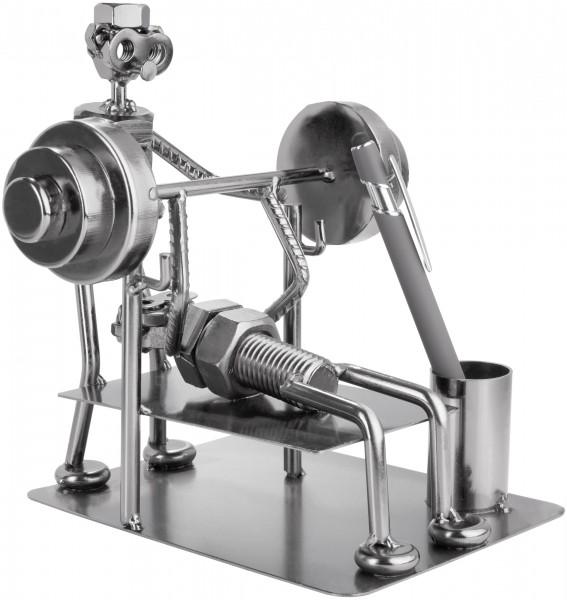 Schraubenmännchen Bodybuilder - Metallfigur Handarbeit mit Stiftehalter
