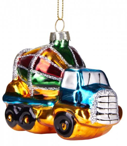 Betonmischer LKW - Handbemalte Weihnachtskugel aus Glas - Mundgeblasener Christbaumschmuck - 8 cm