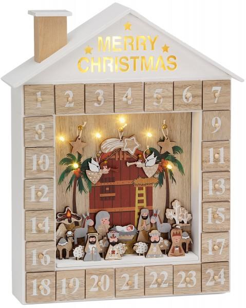 BRUBAKER Adventskalender Krippe mit LED Beleuchtung Weiß Gold - Lernspiel mit 24 Figuren
