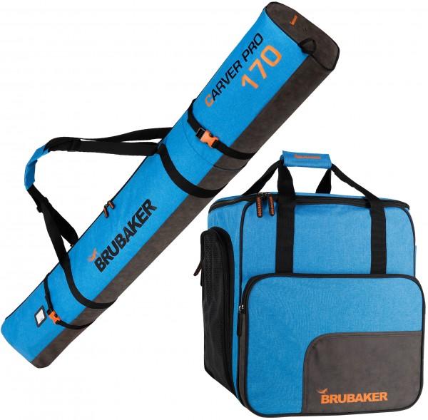 BRUBAKER Kombi Set Carver Performance - Skisack und Skischuhtasche für 1 Paar Ski + Stöcke + Schuhe