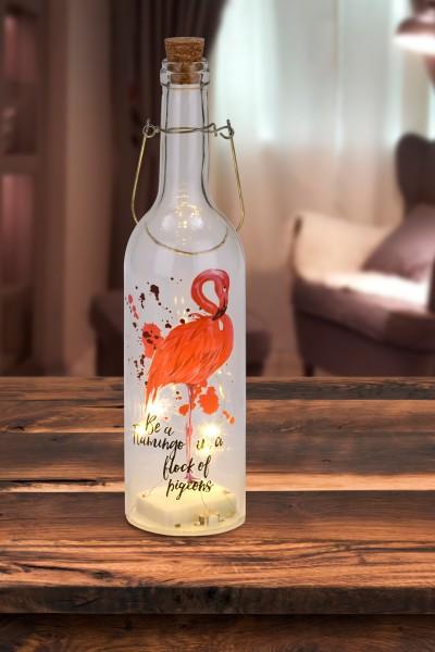 Lichterflasche Flamingo - 5 LEDs - Dekoflaschen - Flaschenlicht - 7,3 x 28 cm