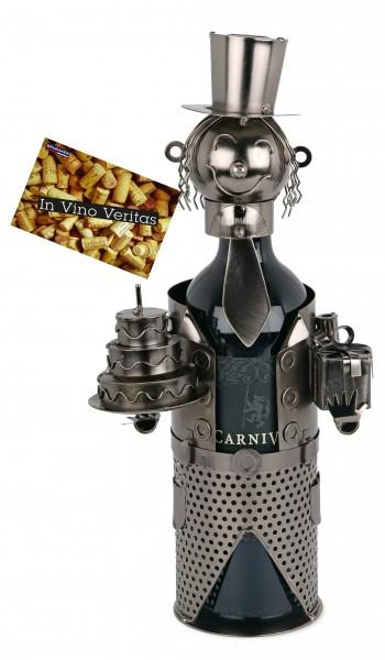 BRUBAKER Flaschenhalter Geburtstag Metall Skulptur Geschenk mit Geschenkkarte