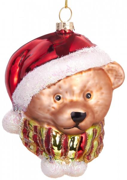 Teddy mit Weihnachtsmütze - Handbemalte Weihnachtskugel aus Glas - Mundgeblasene Baumkugel - 9,5 cm