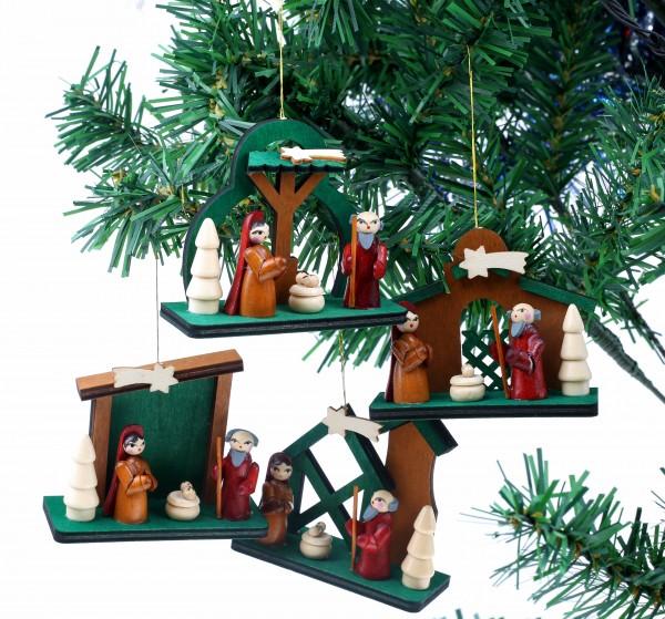 4-tlg. Set Krippen - Baumschmuck Maria und Josef mit Jesus - Christbaumschmuck aus Holz - Handbemalt