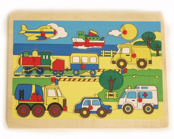 BRUBAKER Holzpuzzle Steckpuzzle Fahrzeuge 9-teilig