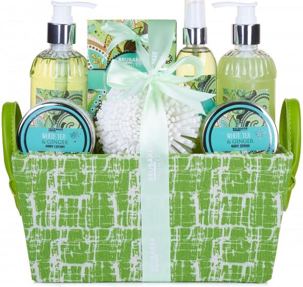 """9-teiliges Bade- und Dusch Set """"White Tea & Ginger"""" - Weißer Tee und Ingwer Duft - Geschenkset"""