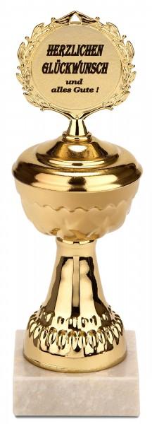 Pokal Herzlichen Glückwunsch und alles Gute - Goldene Trophäe mit Marmorsockel - Geschenkidee