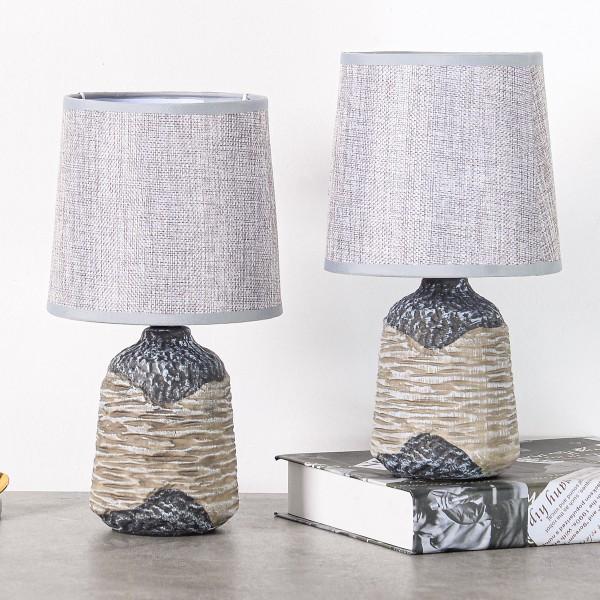 BRUBAKER Tisch- oder Nachttischlampen 27,5 cm - Grau / Braun - Keramik Lampenfüße mit Strukur
