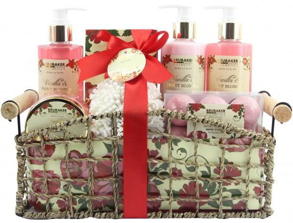 """14-teiliges Bade- und Dusch Set """"Vanilla & Poeny Blossom"""" - Pfingstrosen Blüten Duft - Geschenkset"""