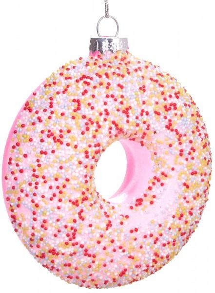 Donut mit Streuseln Rosa - Handbemalte Weihnachtskugel aus Glas - Mundgeblasene Baumkugel - 10 cm