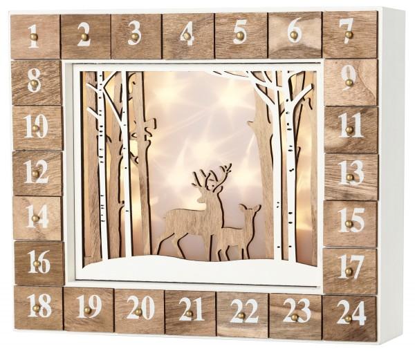 BRUBAKER Wiederverwendbarer Adventskalender aus Holz zum Befüllen - Wald - LED Beleuchtung