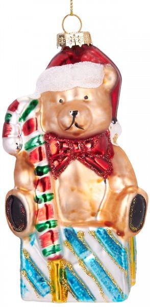 Teddy mit Geschenk- Handbemalte Weihnachtskugel aus Glas - Mundgeblasener Christbaumschmuck - 13 cm