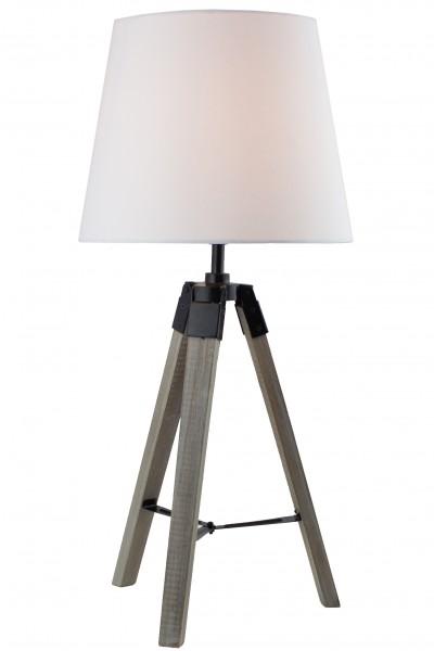 BRUBAKER Dreibein Tisch- oder Nachttischlampe 57 cm Holz Silbergrau / Weiß - Designed in Germany