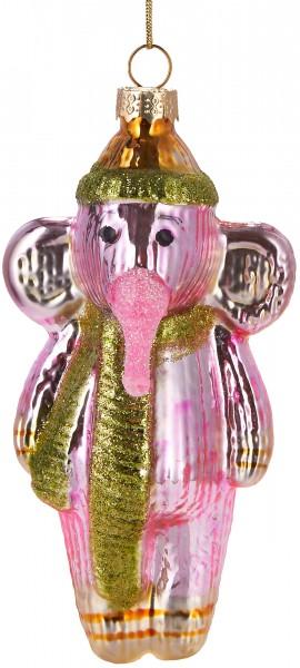 Elefant mit Mütze & Schal - Handbemalte Weihnachtskugel aus Glas – Mundgeblasene Baumkugel - 13 cm