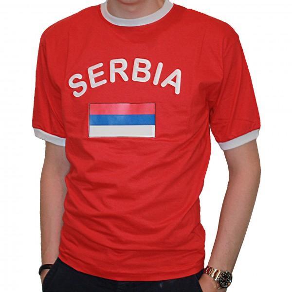 BRUBAKER Herren oder Damen Serbien Fan T-Shirt Rot