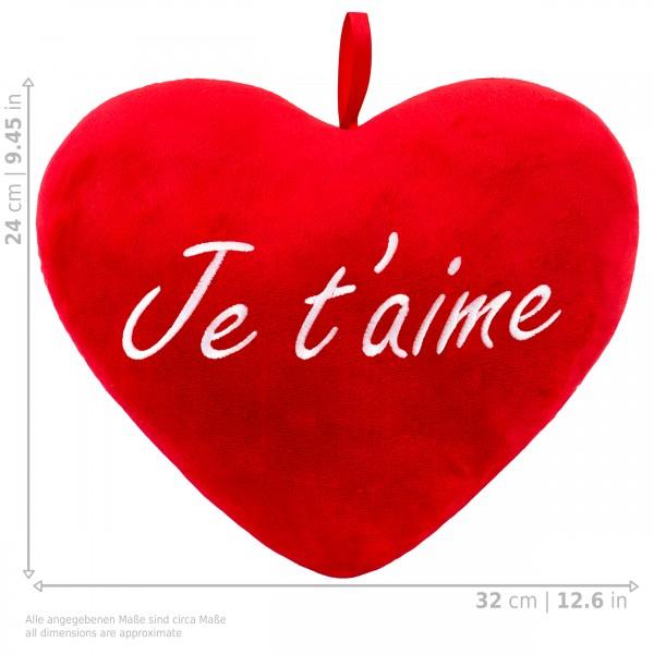 Brubaker Plüschkissen in Herzform - Je T'Aime - Rot 32 cm - Herzkissen Bestickt