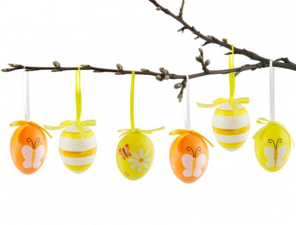 BRUBAKER Ostereier 6,5 cm Kunststoff Gelb Orange - 24 Stück mit Aufhängern und Schleifen