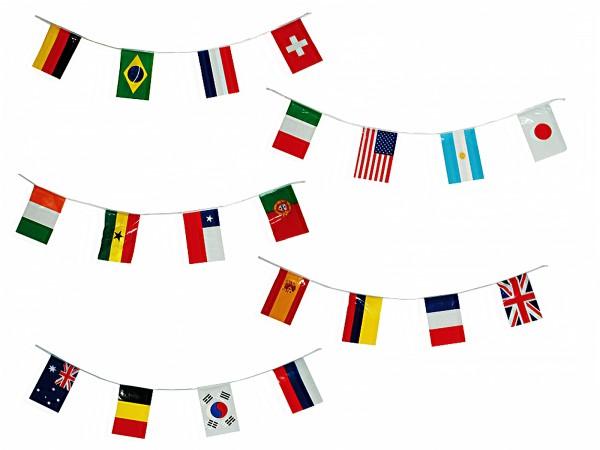BRUBAKER Wimpelkette 20 Länderflaggen Flaggen je 21 x 14 cm, ca. 7 m Länge