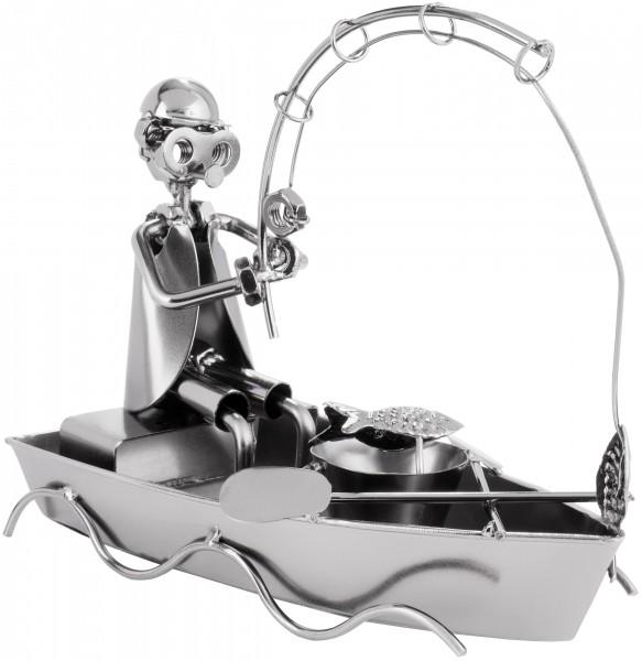 Schraubenmännchen Angler im Boot - Metallfigur Angeln Handarbeit