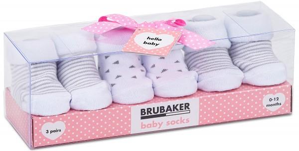"""3 Paar Babysocken """"Streifen und Dreiecke"""" in Geschenkverpackung, 0-12 Monate"""