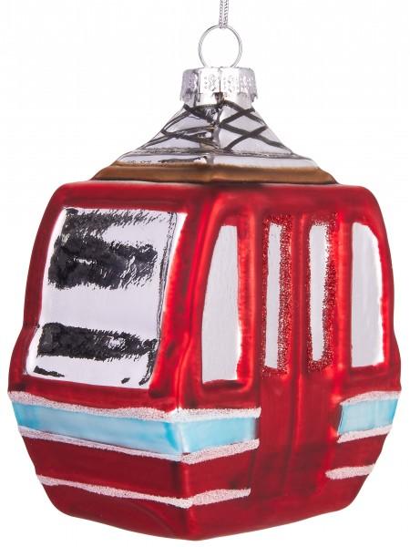 Skigondel Rot - Handbemalte Weihnachtskugel aus Glas - Mundgeblasener Christbaumschmuck - 10 cm