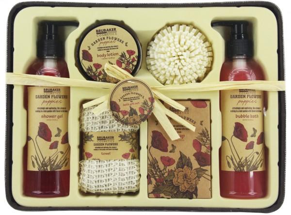 """7-teiliges Bade- und Dusch Set """"Garden Flowers"""" - Mohnblumen Duft - Geschenkset im Deko-Korb"""