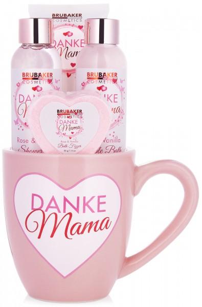 5 tlg. Bade- und Dusch Set - Beautyset - Danke Mama Geschenkset im Kaffeebecher - Rosen Vanille Duft