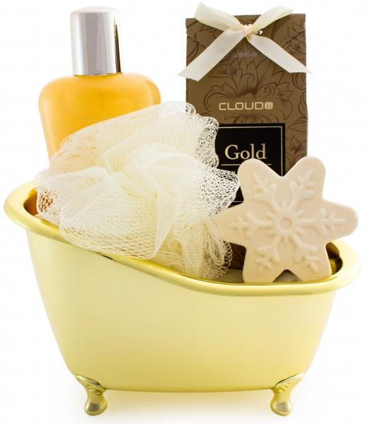 5-teiliges BRUBAKER Cosmetics 'Vanilla' Bade-Geschenkset mit Badewanne goldfarben
