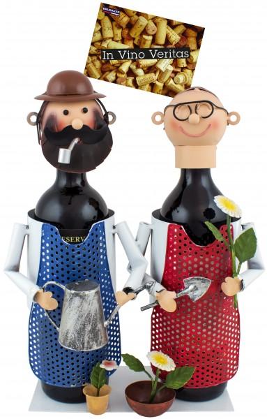 BRUBAKER Flaschenhalter Gärtner Paar Flaschenständer Metall Deko-Objekt Figuren mit Grußkarte