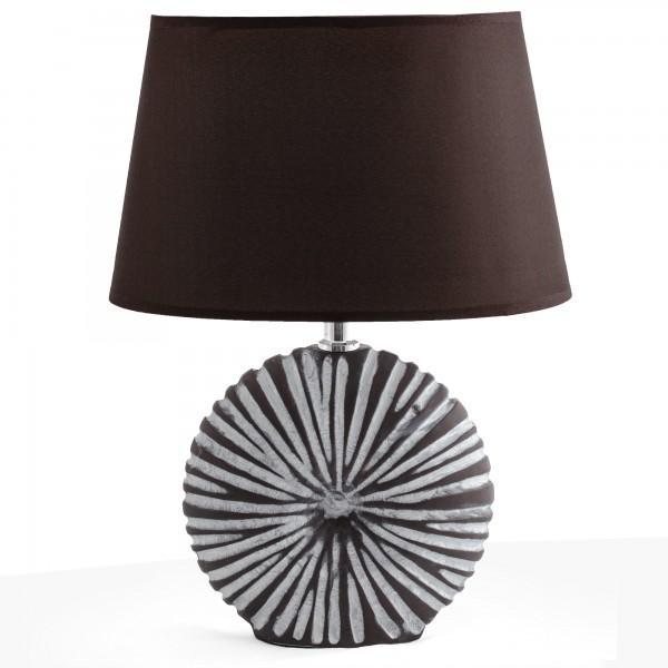 BRUBAKER Tischlampe Nachttischlampe Braun, Keramikfuß in zweifarbigem, mattem Finish - 36 cm Hoch