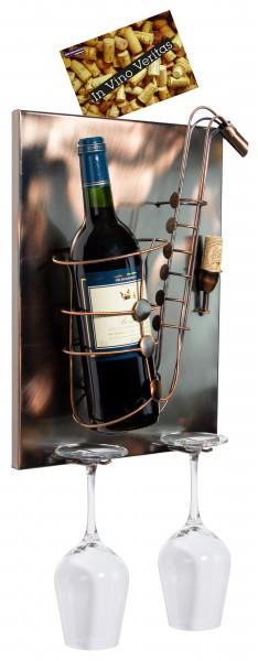 BRUBAKER Wand Flaschenhalter Saxofon - Deko-Objekt für Wein aus Metal mit mit Grußkarte