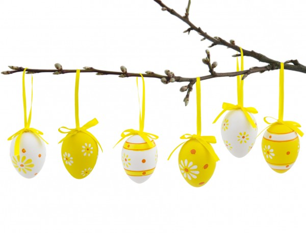 BRUBAKER Ostereier Dekoration zum Aufhängen im 24er Set - Gelb Weiss