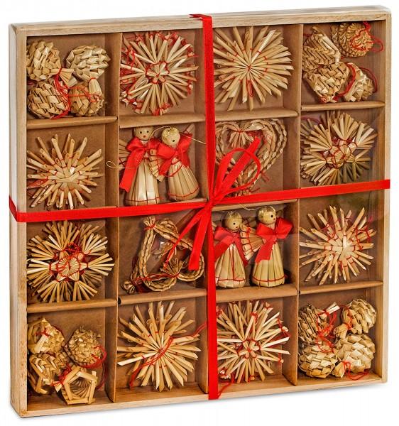 48-teiliges Set Strohsterne Weihnachtsbaumschmuck aus Stroh - bis zu 6,5 cm groß Sterne Herzen Engel