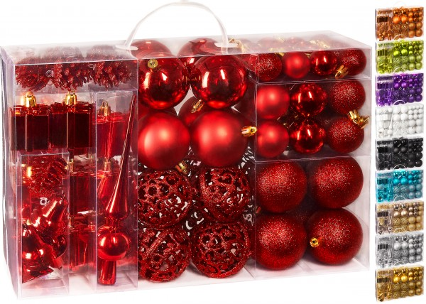 BRUBAKER 101-teiliges Set Weihnachtskugeln mit Baumspitze Christbaumschmuck