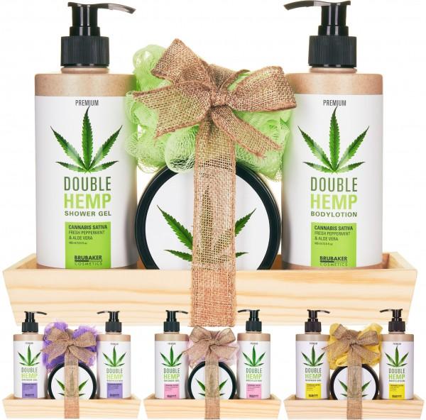 BRUBAKER Cosmetics Dusch- und Pflege Set mit Deko Tablett aus Holz - mit Hanföl - Cannabis Sativa Öl