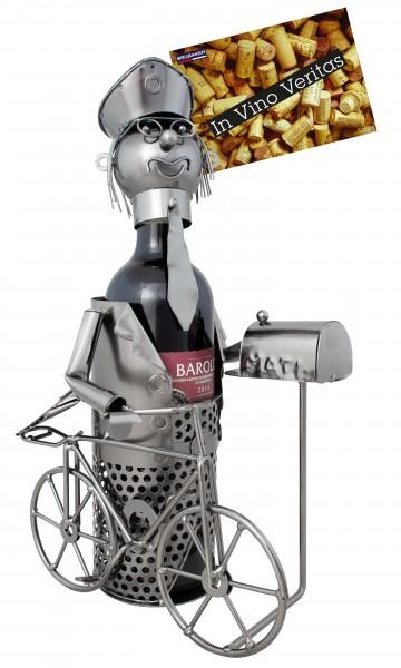 Weinflaschenhalter Postbote - Weingeschenk Flaschenständer - Metallfigur mit Grußkarte