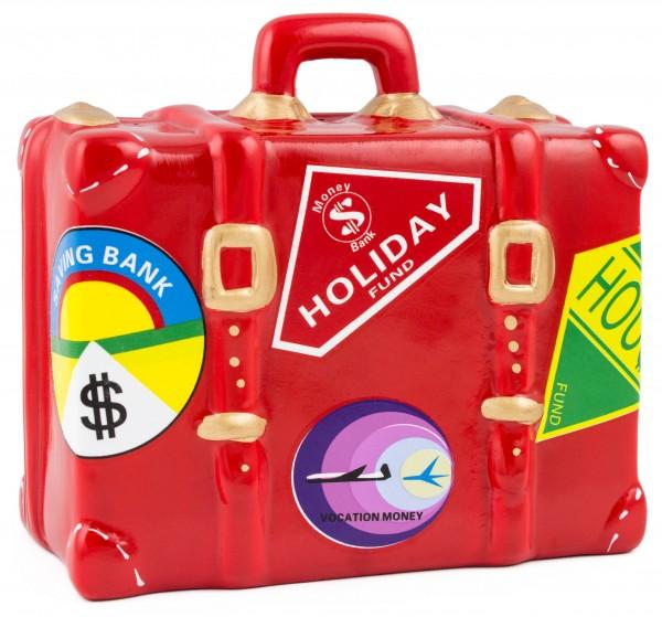 BRUBAKER Spardose Reisekoffer Urlaubskasse 14 x 6 x 14 cm rot