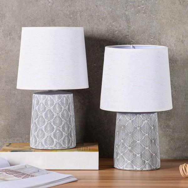 BRUBAKER Tisch- oder Nachttischlampen - 33 cm - Grau - Keramik Lampenfüße - Blatt Ornamente - Leinen