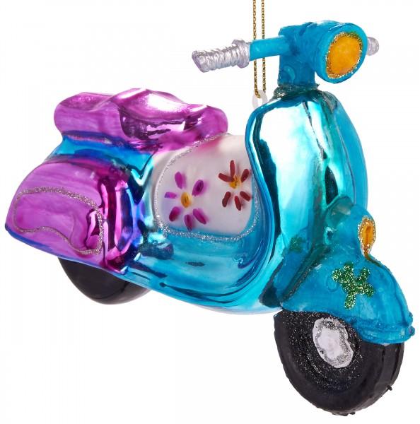 Motorroller Retro Bunt - Handbemalte Weihnachtskugel aus Glas - Mundgeblasene Baumkugel - 13,5 cm