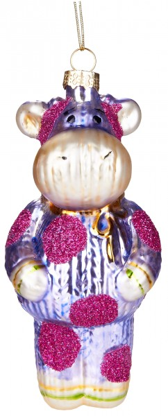 Kuh im Strickanzug - Handbemalte Weihnachtskugel aus Glas - Mundgeblasene Baumkugel - 13 cm