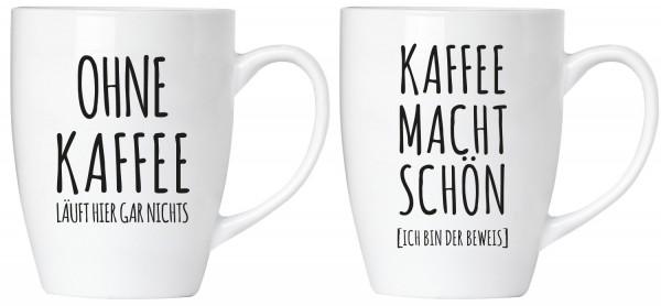 """BRUBAKER """"Ohne Kaffee läuft hier gar nichts! Kaffee macht schön"""" Tassen Set aus Keramik - Grußkarte"""