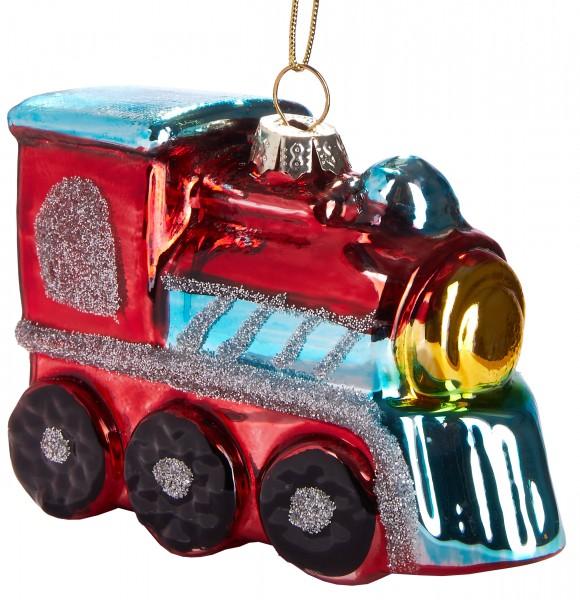 Lokomotive Rot - Handbemalte Weihnachtskugel aus Glas - Mundgeblasener Christbaumschmuck - 9 cm