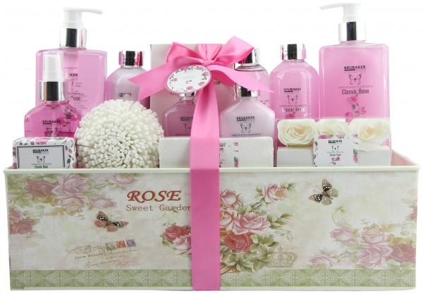 "15-teiliges Bade- und Dusch Set ""Classic Rose"" - Rosen Duft - Beauty Geschenkset in Geschenkbox"