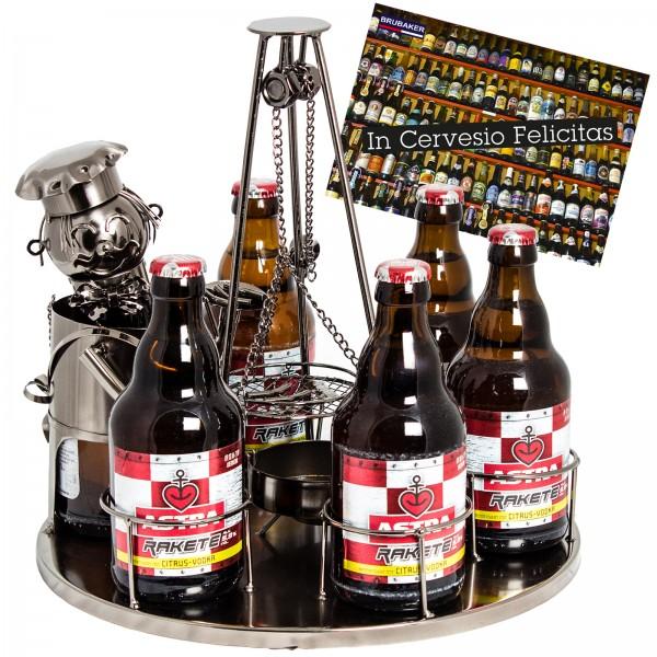 BRUBAKER Bier Flaschenhalter Grillmeister mit Schwenkgrill Metall Skulptur mit Geschenkkarte