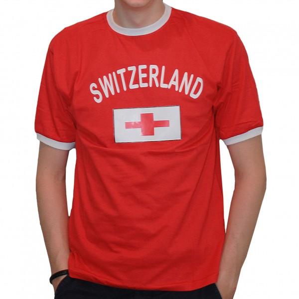 BRUBAKER Herren oder Damen Schweiz Fan T-Shirt Rot